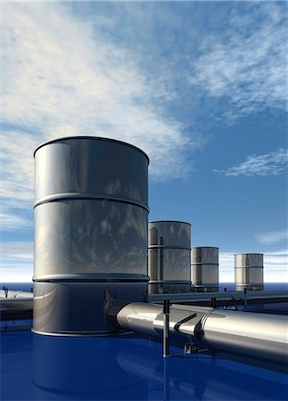 pipework - Oil distribution, conceptual computer artwork. Stock Photo - Premium Royalty-Free, Code: 679-06198689