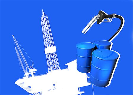 drilling - Oil industry, computer artwork. Stock Photo - Premium Royalty-Free, Code: 679-06198682