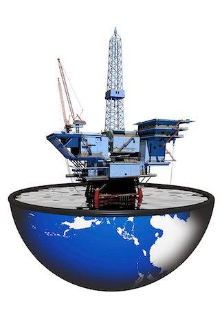 drilling - Oil rig, computer artwork. Stock Photo - Premium Royalty-Free, Code: 679-06198683