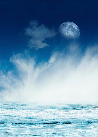 Moon and the tides, computer artwork. Stock Photo - Premium Royalty-Free, Code: 679-06198699