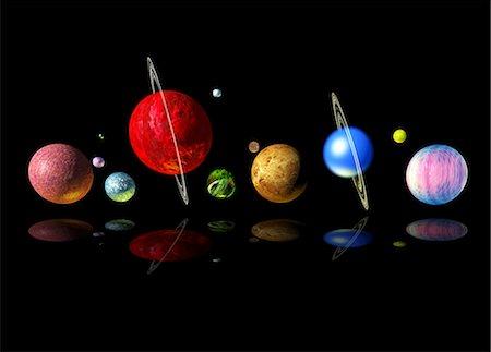Alien solar system, computer artwork. Stock Photo - Premium Royalty-Free, Code: 679-06198691