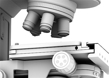 scope - Microscope. Computer artwork of the lens unit of a microscope containing a selection of lenses that can be rotated for a choice of magnification. Under the lens unit is the specimen table. Stock Photo - Premium Royalty-Free, Code: 679-06199187