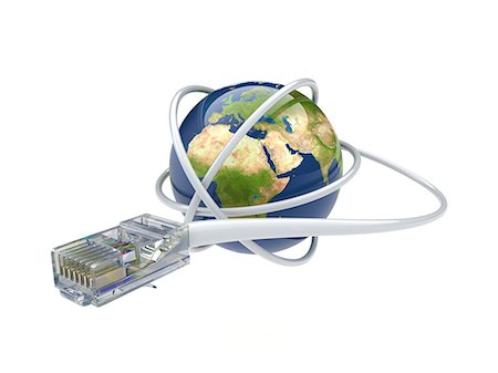 World wide web. Conceptual computer artwork showing a network cable around the earth. Stock Photo - Premium Royalty-Free, Code: 679-06199195