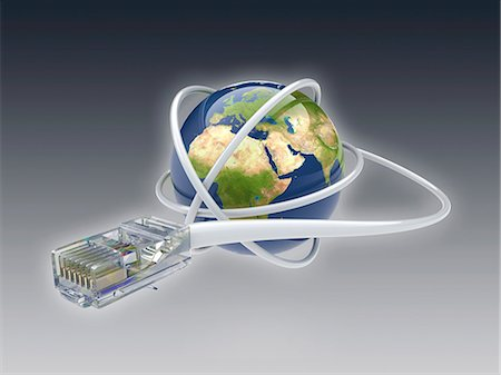 World wide web. Conceptual computer artwork showing a network cable around the earth. Stock Photo - Premium Royalty-Free, Code: 679-06199196