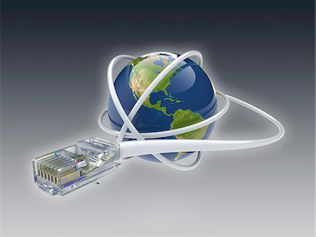 World wide web. Conceptual computer artwork showing a network cable around the earth. Stock Photo - Premium Royalty-Free, Code: 679-06199199