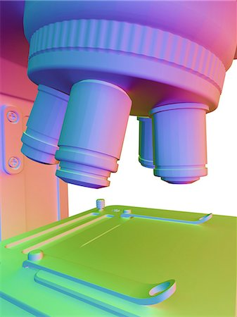 scope - Microscope. Computer artwork of the lens unit of a microscope containing a selection of lenses that can be rotated for a choice of magnification. Under the lens unit is the specimen table. Stock Photo - Premium Royalty-Free, Code: 679-06199191