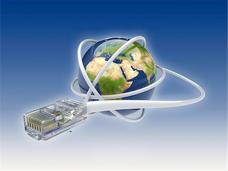World wide web. Conceptual computer artwork showing a network cable around the earth. Stock Photo - Premium Royalty-Free, Code: 679-06199211