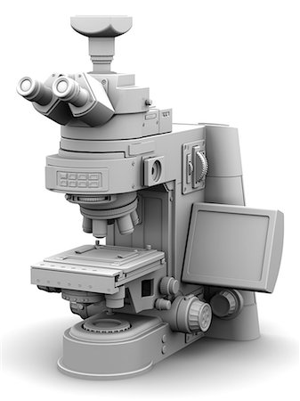 scope - Microscope.Computer artwork of a typical optical microscope with a digital camera attached for photography. Below the camera these are the two eyepieces (binocular) for viewing the specimen. The lens unit of the microscope (at centre) contains a selection of lenses that can be rotated for a choice of magnification. Under the lens unit is the specimen table. At bottom centre is the light box which Stock Photo - Premium Royalty-Free, Code: 679-06199221