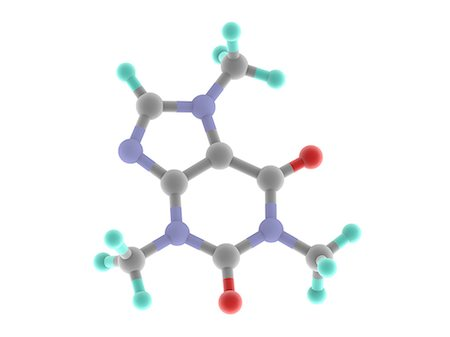 Caffeine. Computer model of a molecule of the alkaloid, stimulant and legal drug caffeine. Caffeine is most often consumed in drinks like tea and coffee. The molecule's chemical formula is C8.H10.N4.O2. Atoms (spheres) are colour-coded: carbon (grey), hydrogen (blue-green), nitrogen (blue), oxygen (red). Stock Photo - Premium Royalty-Free, Code: 679-06674602