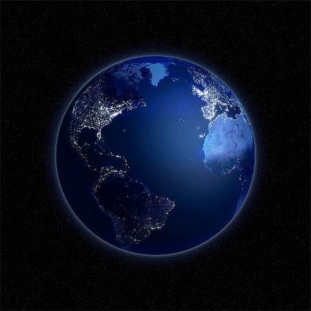 Earth at night. Computer artwork of the Earth from space with lights glowing in urban areas. Stock Photo - Premium Royalty-Free, Code: 679-06672818