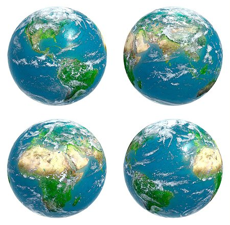 Four views of the Earth with cloud cover, computer artwork. Stock Photo - Premium Royalty-Free, Code: 679-06672813