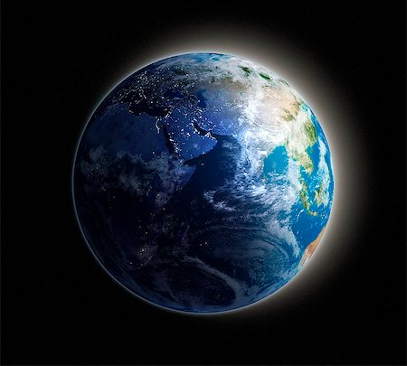 Middle East. Night-day computer artwork of the Earth from space with lights glowing in urban areas. Stock Photo - Premium Royalty-Free, Code: 679-06672824