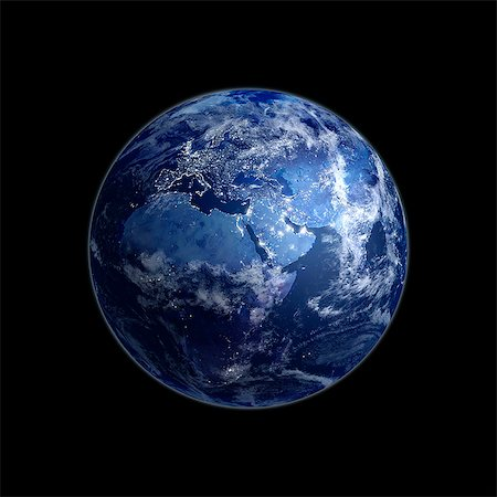 Earth at night. Computer artwork of the Earth from space with lights glowing in urban areas. Stock Photo - Premium Royalty-Free, Code: 679-06672821