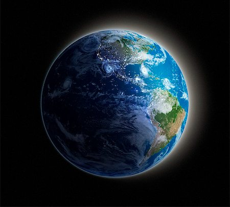 Americas. Night-day computer artwork of the Earth from space with lights glowing in urban areas. Stock Photo - Premium Royalty-Free, Code: 679-06672822