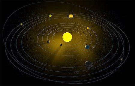 Solar system, computer artwork. Stock Photo - Premium Royalty-Free, Code: 679-06672849