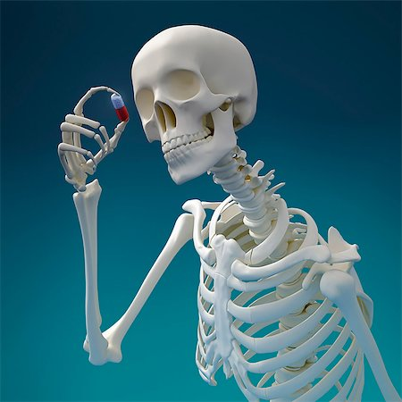 poison - Skeleton with pill, computer artwork. Stock Photo - Premium Royalty-Free, Code: 679-06672868