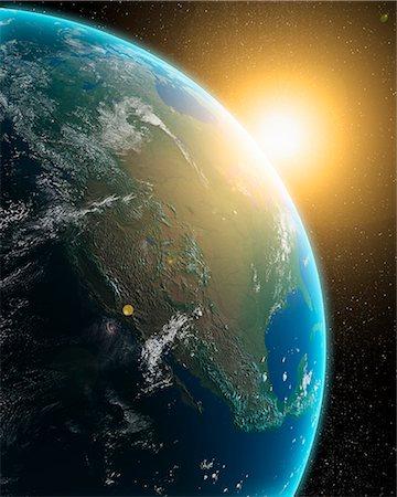 space - Sunrise over North America, computer artwork. Stock Photo - Premium Royalty-Free, Code: 679-06672860