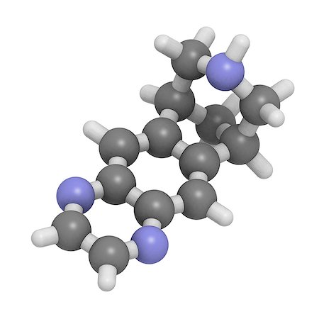 Varenicline smoking cessation drug, molecular model. This drug is a partial agonist of the nicotine receptor. Atoms are represented as spheres and are colour-coded: hydrogen (white), carbon (grey) and nitrogen (blue). Stock Photo - Premium Royalty-Free, Code: 679-06673721