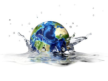Earth falling into water, computer artwork. Stock Photo - Premium Royalty-Free, Code: 679-06673966