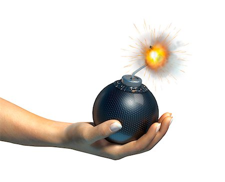 Hand holding a bomb, computer artwork. Stock Photo - Premium Royalty-Free, Code: 679-06673961