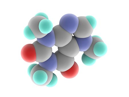 Caffeine. Computer model of a molecule of the alkaloid, stimulant and legal drug caffeine. Caffeine is most often consumed in drinks like tea and coffee. The molecule's chemical formula is C8.H10.N4.O2. Atoms (spheres) are colour-coded: carbon (grey), hydrogen (blue-green), nitrogen (blue), oxygen (red). Stock Photo - Premium Royalty-Free, Code: 679-06711244