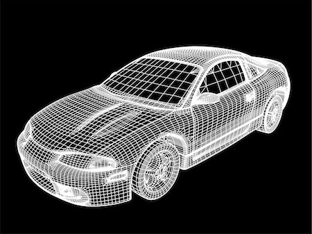 Image made by a computer aided design (CAD) package of a modern car. The image is in the form of a wire frame drawing, where the surface of the vehicle is described as a set of interlocking polygons. CAD is a powerful tool in the design of many common products, as design changes may be quickly incorporated into the model. CAD packages may even be integrated with production machinery in computer ai Stock Photo - Premium Royalty-Free, Code: 679-06713777