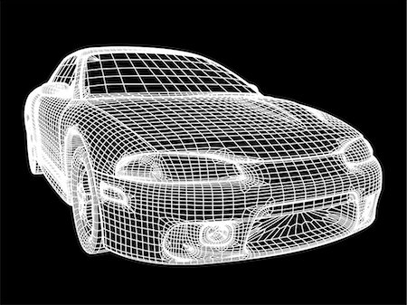 Image made by a computer aided design (CAD) package of a generic modern car. The image is in the form of a wire frame drawing, where the surface of the vehicle is described as a set of interlocking polygons. CAD is an increasingly powerful tool in the design of many common products, as design changes may be quickly incorporated into the model. Pre-computer age techniques involved the labour-intens Stock Photo - Premium Royalty-Free, Code: 679-06713778