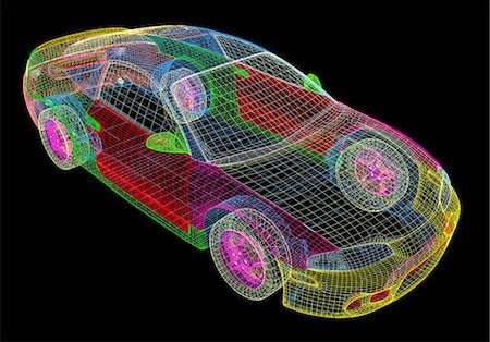 Image made by a computer aided design (CAD) package of a modern car. The image is in the form of a wire frame drawing, where the surface of the vehicle is described as a set of interlocking polygons. CAD is a powerful tool in the design of many common products, as design changes may be quickly incorporated into the model. CAD packages may even be integrated with production machinery in computer ai Stock Photo - Premium Royalty-Free, Code: 679-06713772