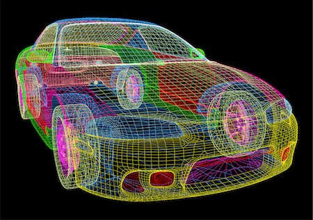 Image made by a computer aided design (CAD) package of a modern car. The image is in the form of a wire frame drawing, where the surface of the vehicle is described as a set of interlocking polygons. CAD is a powerful tool in the design of many common products, as design changes may be quickly incorporated into the model. CAD packages may even be integrated with production machinery in computer ai Stock Photo - Premium Royalty-Free, Code: 679-06713785