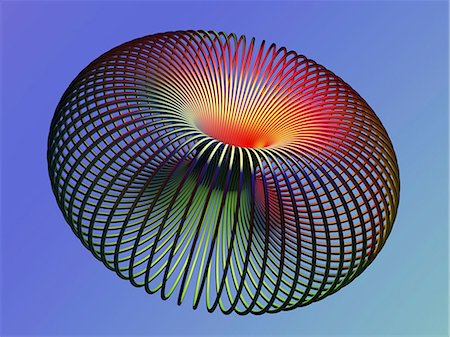 solid - Torus. Computer artwork of a torus. A torus is a mathematical surface with the shape of a doughnut. Stock Photo - Premium Royalty-Free, Code: 679-06713787