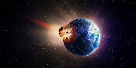 exploding - Asteroid impacting Earth, computer artwork. Stock Photo - Premium Royalty-Free, Code: 679-06713812