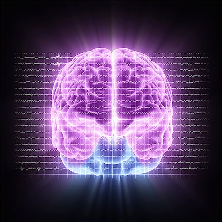Brain activity. Computer artwork of EEG (electroencephalogram) traces superimposed over a brain illustration. An EEG records the brain's activity. Stock Photo - Premium Royalty-Free, Code: 679-06713840