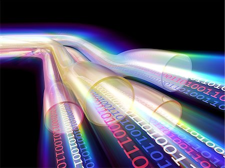 streaming - Information highway. Conceptual computer artwork of data transfer in super high-speed cables. Stock Photo - Premium Royalty-Free, Code: 679-06713842