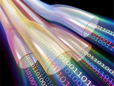 streaming - Information highway. Conceptual computer artwork of data transfer in super high-speed cables. Stock Photo - Premium Royalty-Free, Code: 679-06713865