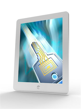 Tablet computer showing conceptual computer artwork of a key with a printed electric circuit on it. This could represent secure data transfer over the internet, the worldwide network of computers. Stock Photo - Premium Royalty-Free, Code: 679-06713874