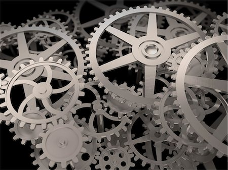 Cogs and gears, computer artwork. Stock Photo - Premium Royalty-Free, Code: 679-06755869