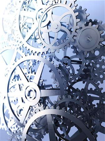 Cogs and gears, computer artwork. Stock Photo - Premium Royalty-Free, Code: 679-06755870