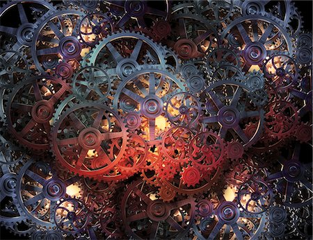 Cogs and gears, computer artwork. Stock Photo - Premium Royalty-Free, Code: 679-06755917