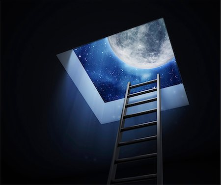 Ladder to the Moon, conceptual computer artwork. Stock Photo - Premium Royalty-Free, Code: 679-06755918
