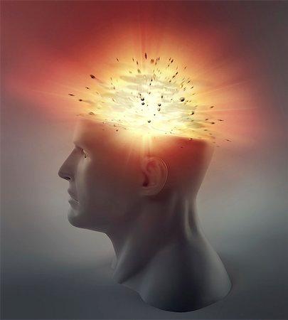exploding - Exploding brain, computer artwork. Stock Photo - Premium Royalty-Free, Code: 679-06755944
