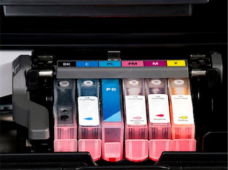 Colour printer cartridge. Stock Photo - Premium Royalty-Free, Code: 679-06780852