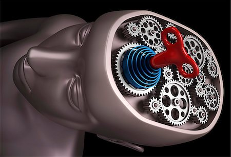 Clockwork brain, computer artwork. Stock Photo - Premium Royalty-Free, Code: 679-06781027