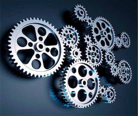 Cogs and gears, computer artwork. Stock Photo - Premium Royalty-Free, Code: 679-06781055