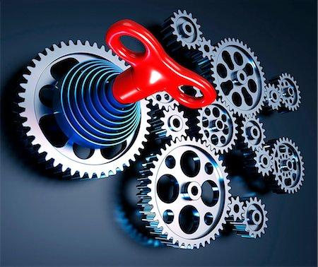 Clockwork machine, computer artwork. Stock Photo - Premium Royalty-Free, Code: 679-06781056