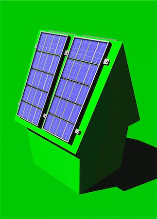 solar power - Green housing, conceptual computer artwork. Stock Photo - Premium Royalty-Free, Code: 679-06781107