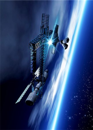 spaceship - Space hotel, computer artwork. Stock Photo - Premium Royalty-Free, Code: 679-06781138