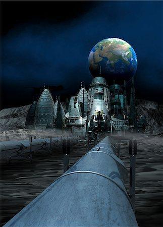 Lunar mining colony, computer artwork. Stock Photo - Premium Royalty-Free, Code: 679-06781140