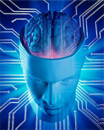 Artificial intelligence, conceptual computer artwork. Stock Photo - Premium Royalty-Free, Code: 679-06781170