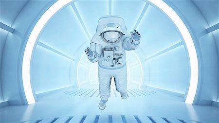 futuristic - Astronaut in a tunnel, computer artwork. Stock Photo - Premium Royalty-Free, Code: 679-07151179