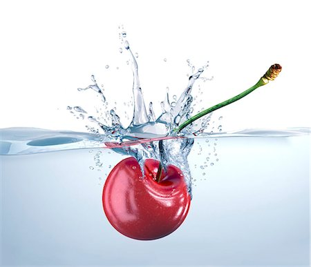 splash - Cherry falling in water, computer artwork. Stock Photo - Premium Royalty-Free, Code: 679-07604855